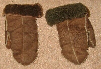 Vintage Kids Sheepskin Mitts Mittens Gloves