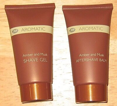 Boots Aromatic Amber And Musk Aftershave Balm And Shave Gel 50Ml Each