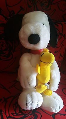 """Applause 18"""" Snoopy Peanuts Holding Hugging Woodstock Collectible Plush Holiday"""
