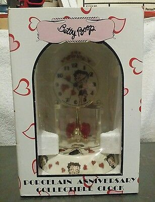 Betty Boop Porcelain Anniversary Collectible clock Red Hearts