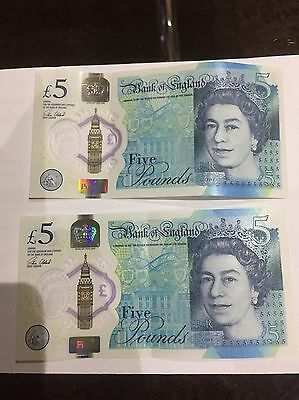 New Five Pound Notes 2 X AA Serial Numbers ; AA16170539 & AA57277255