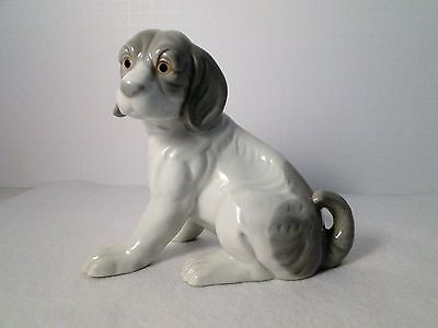 "Beagle Dog Figurine 5"" X 6"" Large White Gray Porcelain Collectible"
