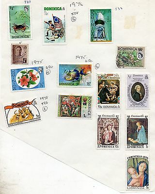 DOMINICA = QE2 Oddments unchecked on album page. Mostly Mint Hinged. As seen
