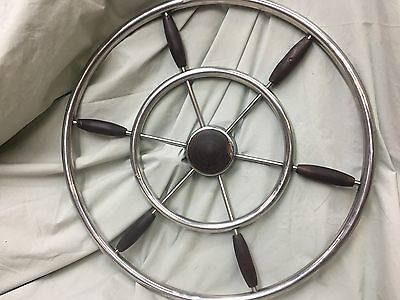 Vintage Nautical Stainless And Teak Boat Ship Wheel