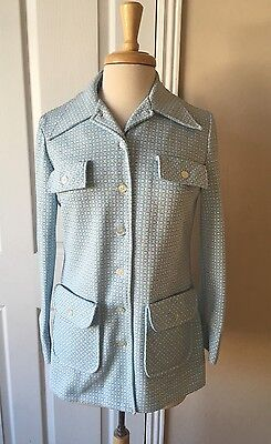 Vintage Women's Blazer Baby Blue White Wing Collar Sz M - Excellent