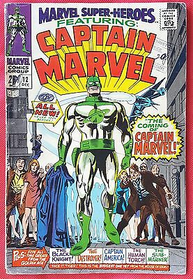 Marvel Super-Heroes 12 Marvel Silver Age1967 1st app & origin of Captain Marvel