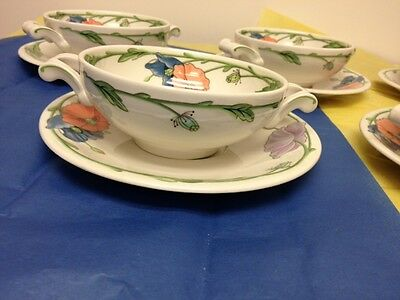 """Footed Cream Soup Bowls & Saucers Amapola by Villeroy & Boch Set of """"6"""""""