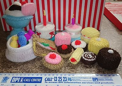 Hand Made Knitted Tea Party Set 15 items  Toy Wool