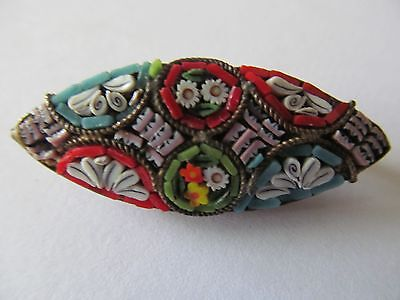 Vintage Oval Wide Italian Micro Mosaic Colorful Multi-Tones Designed Brooch Pin