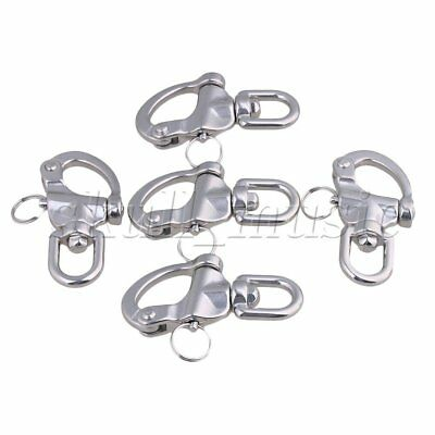 5 x Silver Medium Size Stainless Steel 304 Snap Shackle with Swivel Bail