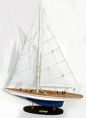 "America's Cup J-Class Enterprise 24"" Handmade Wooden Sailboat Model"