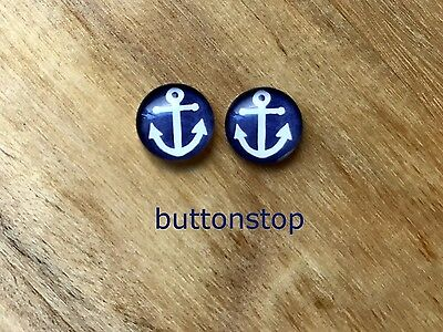 2 x 12mm glass dome cabochons - white anchor on navy