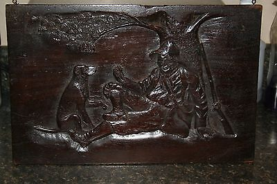 Vintage Folk Art Wood  Hand  Carved Plaque- 3rd in a Series of 3 Hunting Scenes