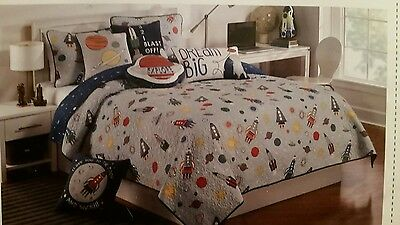 Authentic Kids  Twin Quilt Planets Rockets Space Stars Solar System Blue Orange