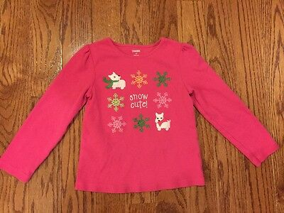 Girl's gymboree pink snowflake long sleeve shirt size 4T