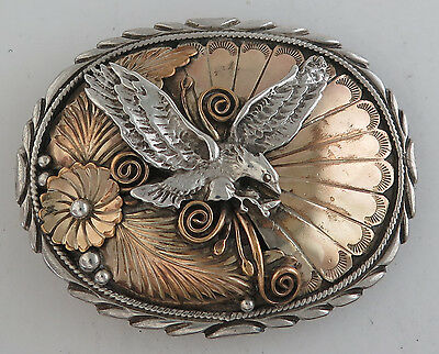 Awesome Sterling Silver w/ Relief Eagle and Applique Western Belt Buckle
