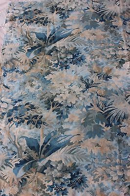 French Antique Forest Scenic Hand Blocked Printed Cotton Textile Fabric