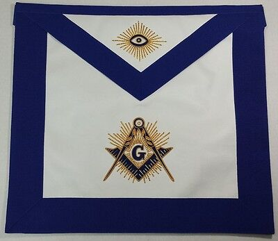 Blue Lodge Hand Embroidered Masonic Master Mason Apron Gold Thread &  Bullion