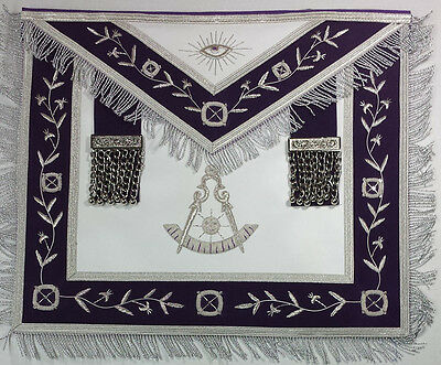 Past Master Royal Purple Hand Embroidered Made Masonic Apron with Silver Fringe