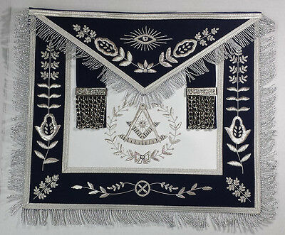 Hand Embroidered Bullion Made Masonic Past Master Navy Blue Apron silver Fringe