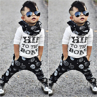 2Pcs Baby Boys Kids T-shirt Tops+Legging Pants Sets Toddler Outfits Clothing