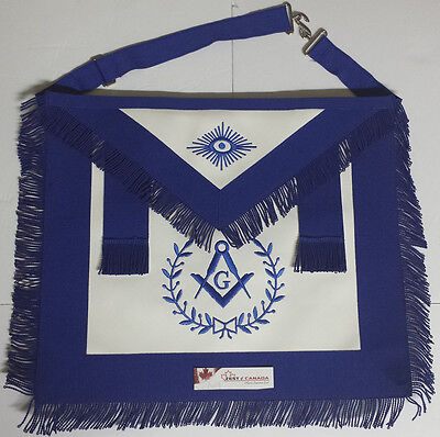 Blue Lodge Masonic Master Mason Apron With Fringe RB