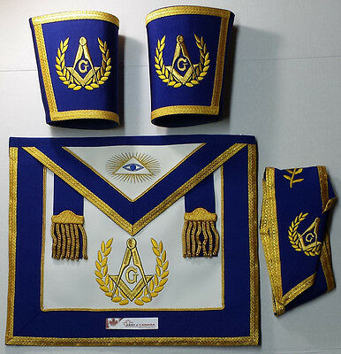 Masonic Blue Lodge Past Master Apron Set Apron,Collar ,Gauntlets (Cuffs)