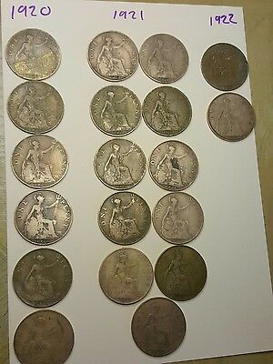 old one penny coins 1920 - 1922