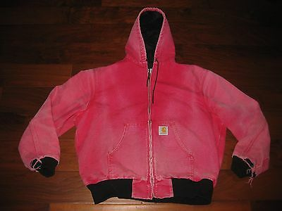 Carhartt Red Duck Hooded Jacket Thermal JR100 - Size XL - Distressed