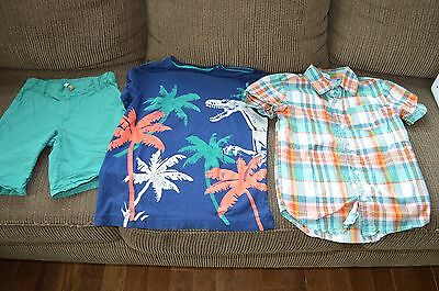 Crazy 8 boys small 5-6 7 outfit set shorts plaid shirt blue green coral