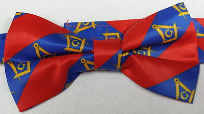 Masonic Bow Tie Silk made Red & Blue Color with Compass & G logo