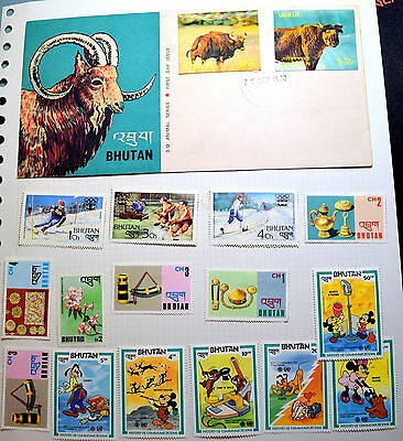 Bhutan 3D First Day Cover + 64 Colourful Stamps (30 mint)