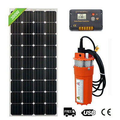 160W Solar Panel & 12V Submersible Pump Deep Well Pump Kit 15A Charge Controller