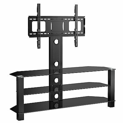 Cantilever Glass TV Stand with Swivel Bracket for 32 to 55 inches Plasma LCDTV n
