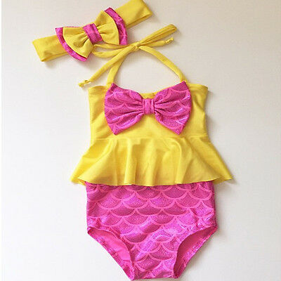 Kids Baby Girls Bow Swimable Bikini Set Swimwear Swimsuit Bathing Suit Swimming