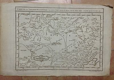 RUSSIA TARTARY MONGOLIA 1749 by NICOLAS BELLIN ORIGINAL COPPER ENGRAVED MAP