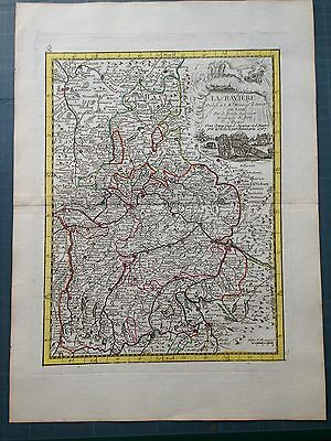 GERMANY BAVARIA dated 1767 by LE ROUGE XVIIIe CENTURY COPPER ENGRAVED MAP