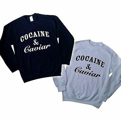 COCAINE AND CAVIAR SWEATER TUMBLR SWAG TOP JUMPER hipster  SWEATSHIRT UNISEX