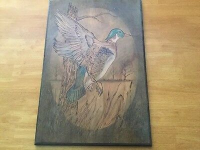 "Carved Wood Folk Art Mallard Duck Painted 16"" x 24"" Beautiful"