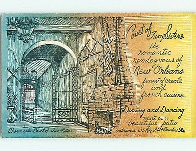 Unused Pre-1980 COURT OF TWO SISTERS RESTAURANT New Orleans Louisiana LA s0839