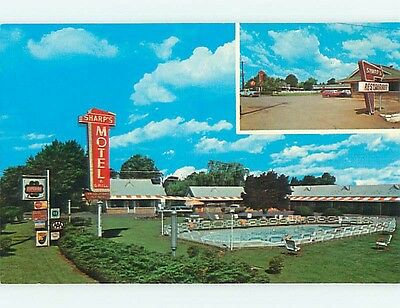 Unused Pre-1980 OLD CARS & SHARP'S MOTEL Knoxville Tennessee TN s6382