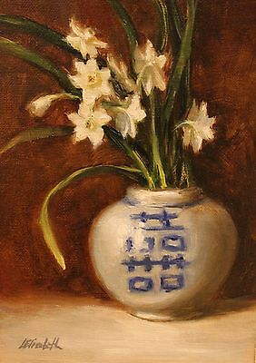 "Paper whites blue ginger jar original Oil Painting on 5""x7"" Linen Panel by CE"