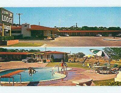 Pre-1980 OLD CARS & FLYING LODGE MOTEL Ozona Texas TX s7382