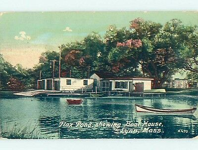 Divided-Back CANOE BOAT & BOAT HOUSE & FLAX POND Lynn Massachusetts MA t6193