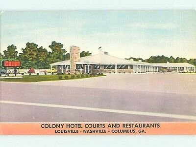 Linen OLD CARS & COLONY COURT MOTEL Louisville Kentucky KY t0502