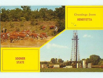 Pre-1980 CATTLE & OIL WELL DERRICK Henryetta Oklahoma OK t5161