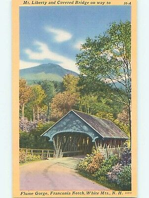 Unused Linen COVERED BRIDGE Franconia Notch New Hampshire NH t8606