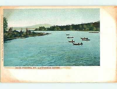 Unused Pre-1907 BASS FISHING ON ST. LAWRENCE RIVER State of New York NY t3375