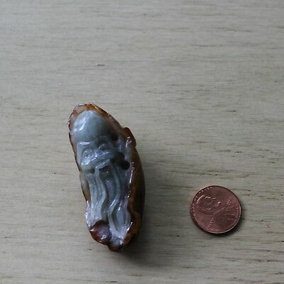 Chinese Two Tone Jade Carving Sage Old Wise Man Pendant Amulet