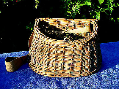 Signed Antique Belguim Wicker Basket Trout Fly Fish Fishermans Fishing Creel